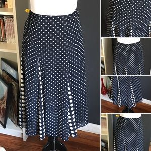 Emma James Navy Cream Dot Swing A Line Skirt